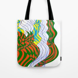 Waves Lines Black and Blue Lines - Colored Tote Bag