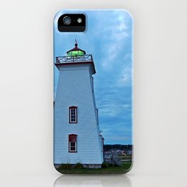 Wood Islands Lighthouse and green light iPhone Case