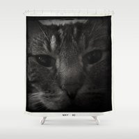 sofa Shower Curtains featuring Sofa Loaf Face BW by Nearlycanadian