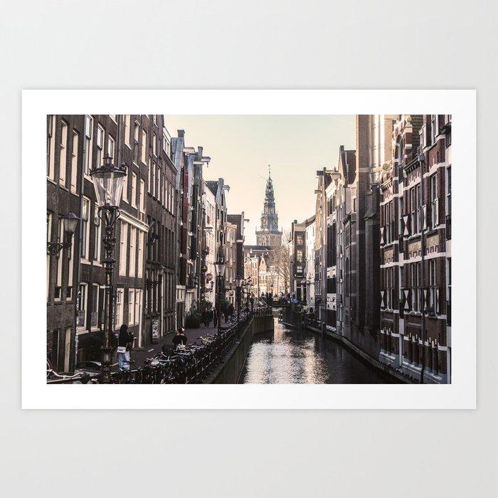 ArtWork Amsterdam EU Orange Black Art Print