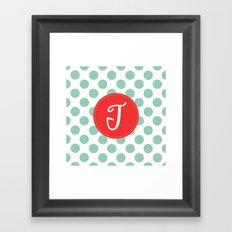Monogram Initial T Polka Dot Framed Art Print