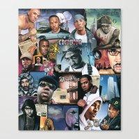 hip hop Canvas Prints featuring HIP HOP by BONES ART