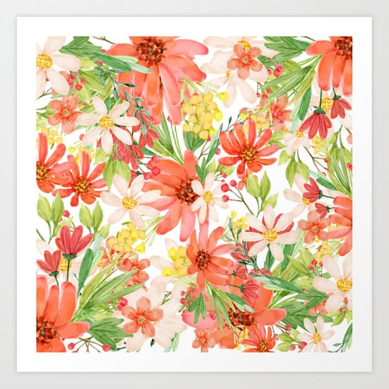 Summer Flowers Collage Art Print