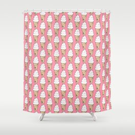 Doodle ice cream pattern on a pink background Shower Curtain