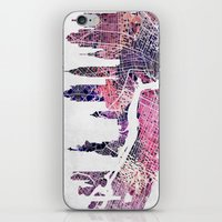 new york skyline iPhone & iPod Skins featuring New York Skyline + Map by Map Map Maps