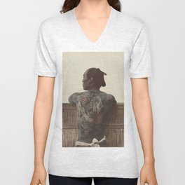 19th Century Japanese Tattoo (Fence) Unisex V-Neck