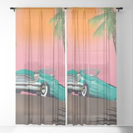 Vintage Classic Car Sheer Curtain