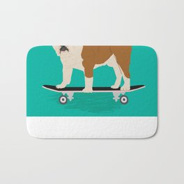 English bulldog skateboard funny pet portrait cute gift for dog person dog lover bulldog owner gifts Bath Mat