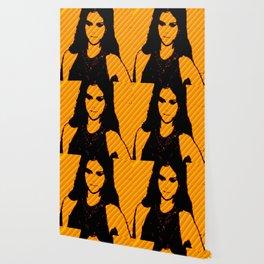 Ms.Gomez yellow art print Wallpaper