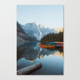Moraine Lake Canoes Canvas Print