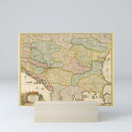 Vintage Map Print - 1729 map of the Balkans by Gerrit van Schagen Mini Art Print