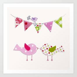 Pink Birds with party flags Art Print