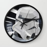 storm Wall Clocks featuring Stormtrooper by Liam Brazier
