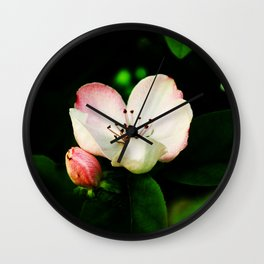 Quince Pink Flower and Bud Wall Clock