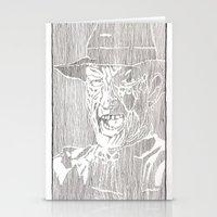 freddy krueger Stationery Cards featuring Freddy Krueger by Aaron Bir by Aaron Bir