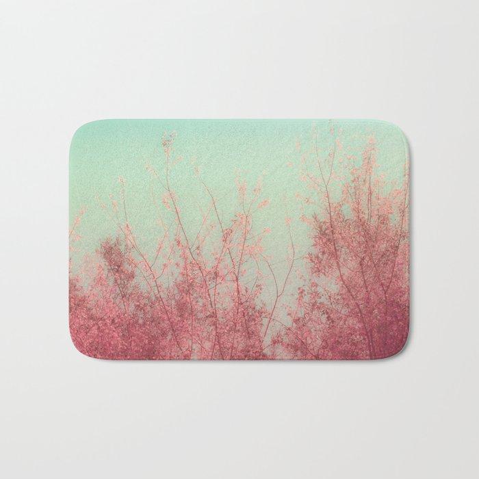 Harmony (Mint Blue Sky, Coral Pink Plants) Bath Mat