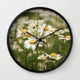 White Flowers Wall Clock