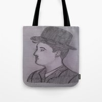 charlie chaplin Tote Bags featuring Charlie Chaplin by Natasha Lake