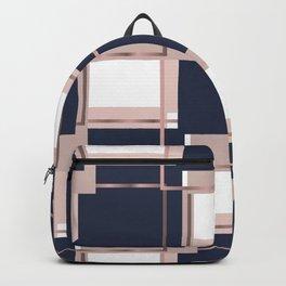 Elegant Blue Square Geometric Patterns Backpack