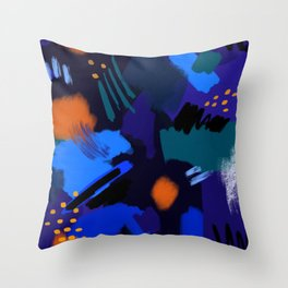 Blue Brush Stokes Throw Pillow