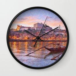 Porto at dusk Wall Clock