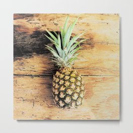 Pineapple on wood arty Metal Print