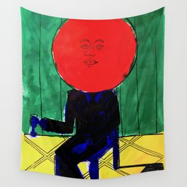 Tomato Face - Abstract Surrealism psychedelic illustration Wall Tapestry