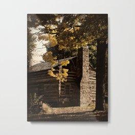 Log Cabin in Autumn Metal Print