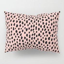 Pink and Black Dalmatian Spots (black/pink) Pillow Sham