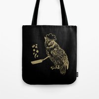 cooking Tote Bags featuring Cooking Owl by October's Very Own