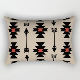 Southwestern Arrow Pattern 251 Black Red and Beige Rectangular Pillow