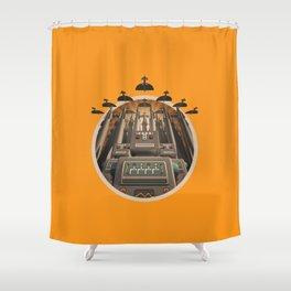 Robots Unite! crest variant Shower Curtain