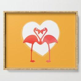 lovebirds - flamingos in love Serving Tray
