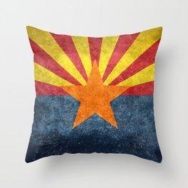 State flag of Arizona in Vintage Grunge Throw Pillow