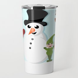 Christmas cartoon characters - Santa Claus, snowman, reindeer, elf and penguin Travel Mug
