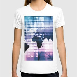 Global Business Network with Technology Theme Concept T-shirt