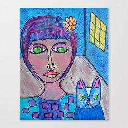 A Girl And Her Mysterious Cat Canvas Print