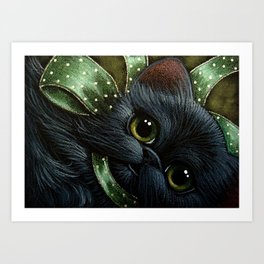 BLACK PERSIAN KITTEN CAT with GREEN BOW - YOUR GIFT Art Print