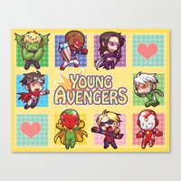 young avengers Canvas Prints featuring Young Avengers by waste-cabin