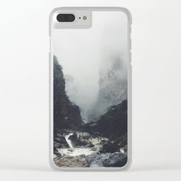 Creek Rapids At Base Of Jagged Cliffs Clear iPhone Case