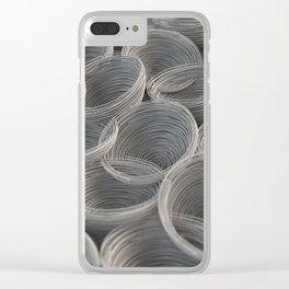 White spiraled coils Clear iPhone Case