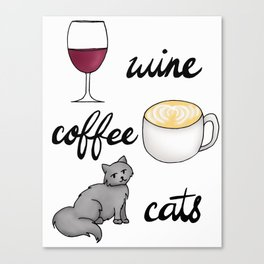 Wine Coffee Cats Canvas Print