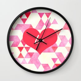 Valentine's Diamond Pattern with Love Heart Wall Clock