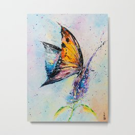 Butterfly on fiower Metal Print