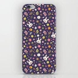 Bunny Floral Pattern Design / Purple iPhone Skin