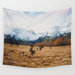 Peaceful New Zealand mountain landscape Wall Tapestry