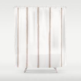 Skinny Strokes Gapped Vertical Nude on Off White Shower Curtain