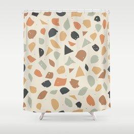 Terrazzo flooring vector seamless pattern. Texture of classic italian type of floor in Venetian styl Shower Curtain