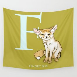 F is for Fennec Fox: Under Appreciated Animals™, ABC nursery kids room decor lime unusual animals Wall Tapestry