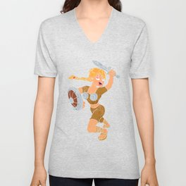 cartoon viking girl. Unisex V-Neck